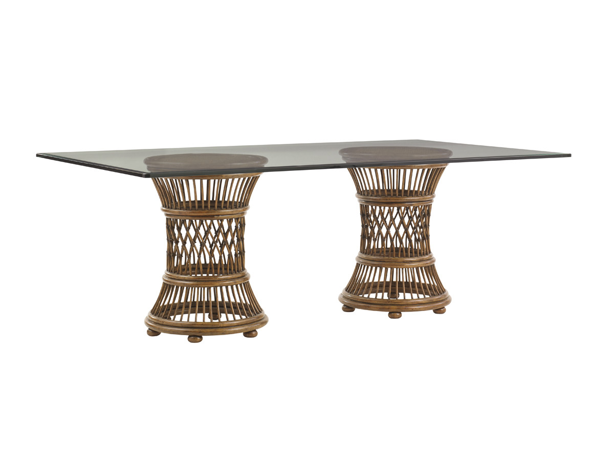 Aruba Dining Table With 84 X 48 Inch Glass Top Lexington Home Brands