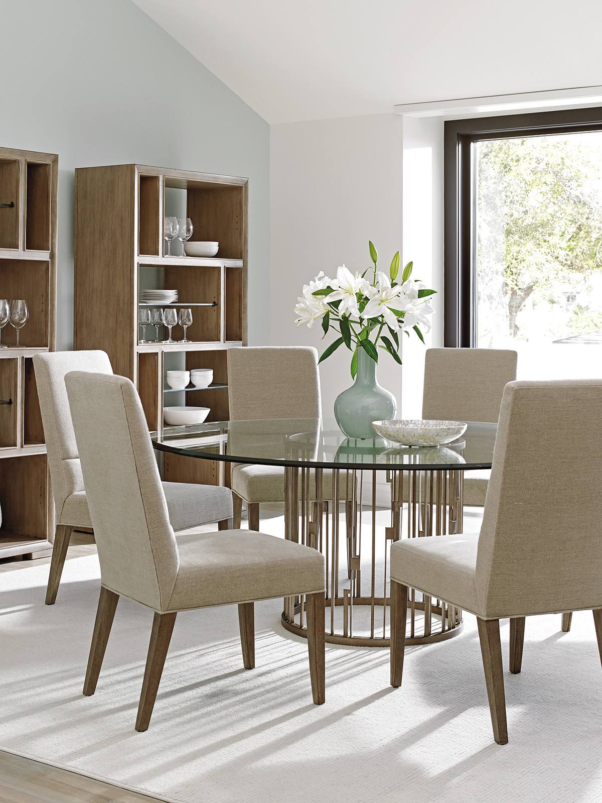 Rendezvous Round Metal Dining Table With Glass Top Lexington Home Brands