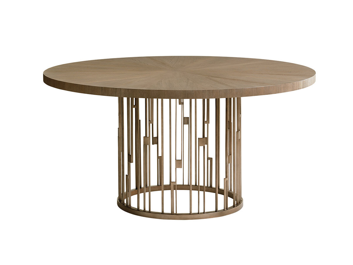 Shadow play by lexington rendezvous round metal dining table with wooden top