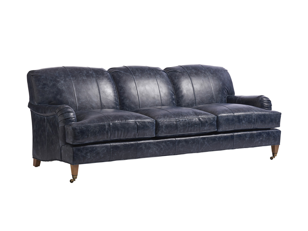 Sydney Leather Sofa With Br Caster