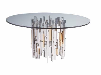 Cityscape Round Dining Table With Glass Top