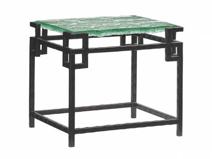 Hermes Reef Glass Top End Table