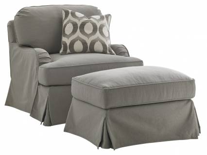 Stowe Swivel Slipcover Chair - Gray