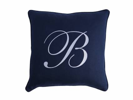 Monogram Signature Pillow- Navy
