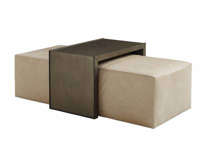 Savona Leather Cocktail Ottoman With Slide
