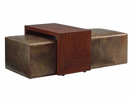 Broadway Leather Cocktail Ottoman W/Slide