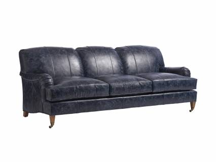 Sydney Leather Sofa With Brass Caster